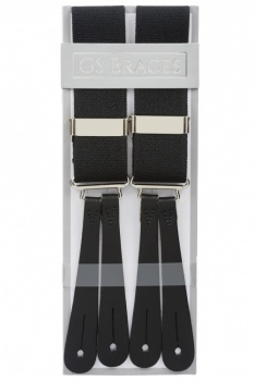 Classic Plain Black Y Back Elastic Trouser Braces With Leather Ends by Gents Shop